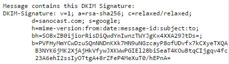 Eksempel på DKIM signatur