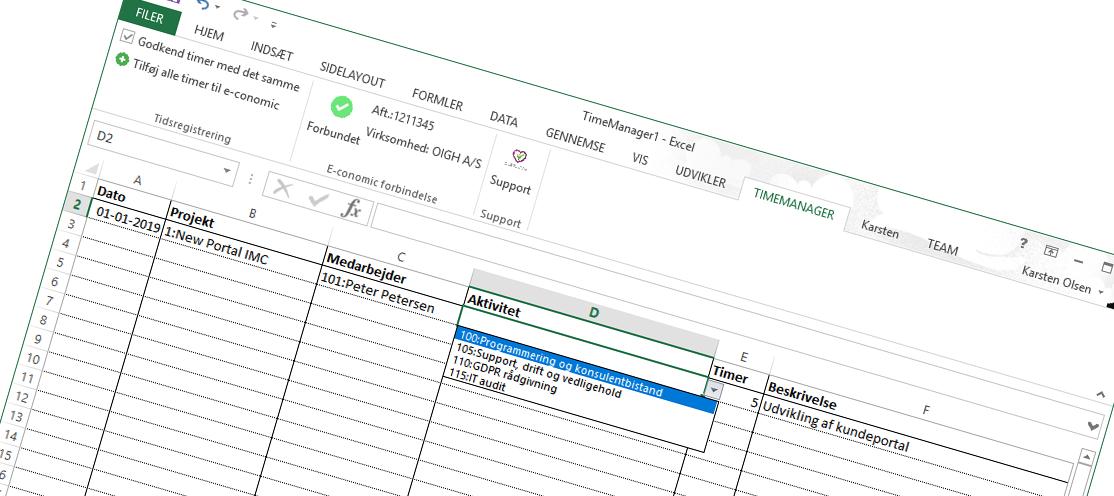 Excel timeregistrering i Economic projektstyring